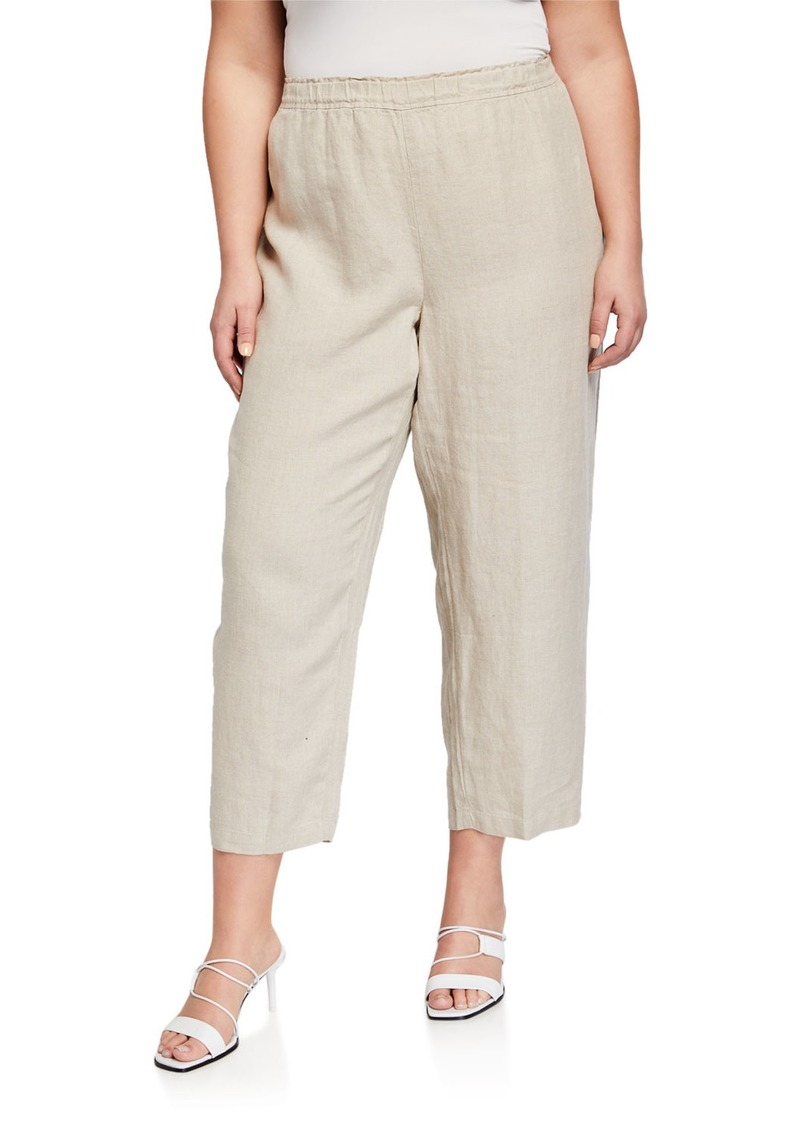 Eileen Fisher Plus Size Cropped Organic Linen Pants