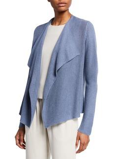 Eileen Fisher Plus Size Drape-Font Organic Linen/Cotton Cardigan