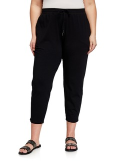 Eileen Fisher Plus Size Drawstring Slouchy Jersey Straight-Leg Ankle Pants