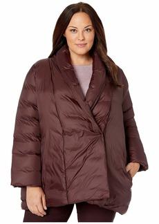 Eileen Fisher Plus Size Eggshell Recycled Nylon High Shawl Collar Coat
