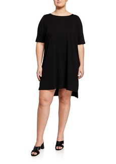 Eileen Fisher Plus Size Elbow-Sleeve High-Low Jersey Dress