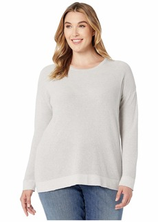 Eileen Fisher Plus Size Fine Organic Cotton Silk Round Neck Top