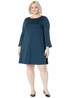 Eileen Fisher Plus Size Fine Tencel Jersey Round Neck Bracelet Sleeve Dress