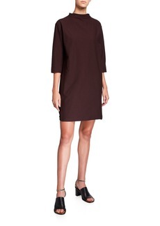 Eileen Fisher Plus Size Funnel-Neck 3/4-Sleeve Washable Crepe Dress