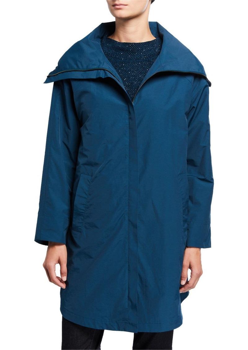 Eileen Fisher Plus Size High-Collar Zip-Front Organic Cotton/Nylon Coat