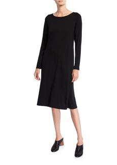 Eileen Fisher Plus Size Jersey Bateau-Neck Long-Sleeve Dress