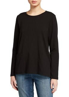 Eileen Fisher Plus Size Jersey Round-Neck Long-Sleeve Top with Pocket