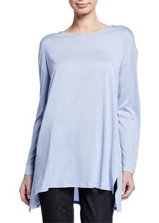 Eileen Fisher Plus Size Jewel-Neck Long-Sleeve Jersey Front Tunic w/ Silk Back