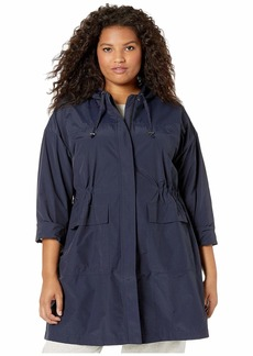 Eileen Fisher Plus Size Light Organic Cotton Nylon Hooded Long Coat