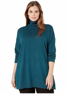 Eileen Fisher Plus Size Lightweight Cozy Tencel Stretch Turtleneck Tunic