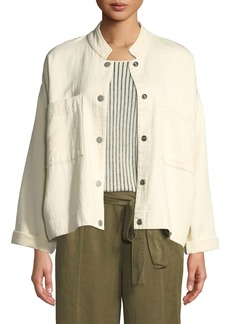 Eileen Fisher Plus Size Mandarin Collar Snap-Front Channel Jacket