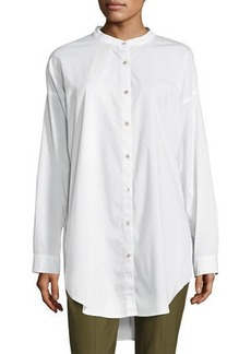 Eileen Fisher Plus Size Mandarin-Collar Stretch-Lawn Button-Front Shirt