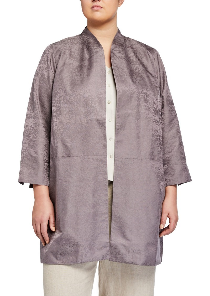 Eileen Fisher Plus Size Marble Satin Jacquard Open-Front 3/4-Sleeve Jacket
