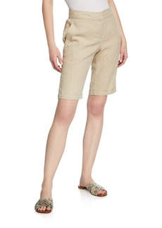 Eileen Fisher Plus Size Mid-Rise Organic Linen Bermuda Walking Shorts