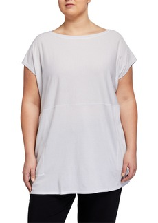 Eileen Fisher Plus Size Ministripe Tunic Dress with Pockets