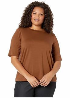 Eileen Fisher Plus Size Mock Neck Elbow Sleeve Slim T-Shirt