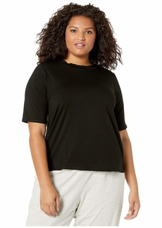 Eileen Fisher Plus Size Mock Neck Elbow Sleeve Slim T-Shirt