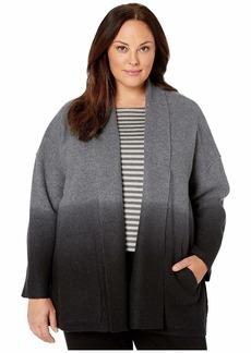Eileen Fisher Plus Size Ombre Boiled Wool Shawl Collar Kimono Jacket