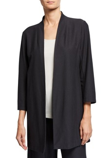 Eileen Fisher Plus Size Open-Front 3/4-Sleeve Lightweight Stretch Crepe Jacket