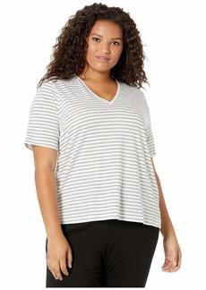 Eileen Fisher Plus Size Organic Cotton Slub Stripe V-Neck Short Sleeve Top