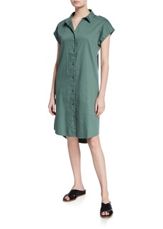 Eileen Fisher Plus Size Organic Cotton Twill Cap-Sleeve Long Shirtdress