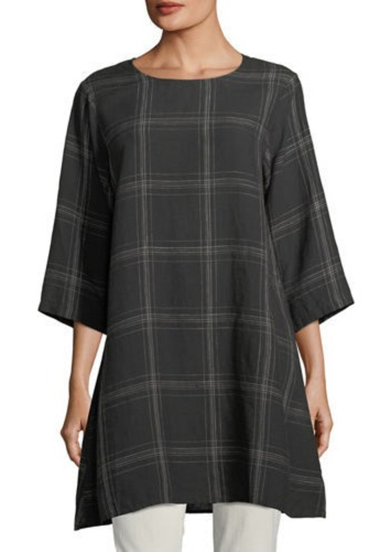 Eileen Fisher Plus Size Organic Linen Plaid Tunic