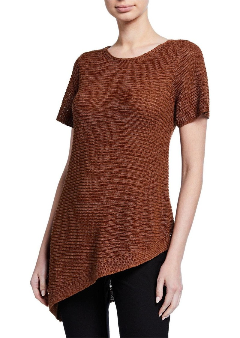 Eileen Fisher Plus Size Organic Linen/Cotton Short-Sleeve Asymmetric Tunic Sweater