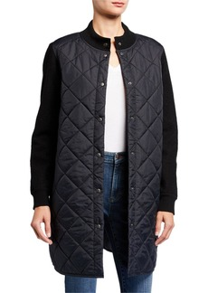 Eileen Fisher Plus Size Quilted Nylon Button-Front Wool Sleeve Long Jacket