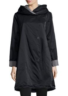Eileen Fisher Plus Size Reversible Hooded Rain Coat  Black/Pewter