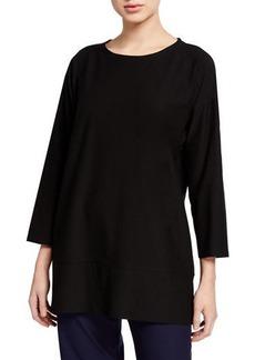 Eileen Fisher Plus Size Round-Neck Bracelet-Sleeve Crepe Tunic