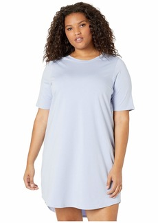 Eileen Fisher Plus Size Round Neck Elbow Sleeve Knee Length Dress