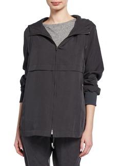 Eileen Fisher Plus Size Sandwash Zip-Front Hooded Jacket