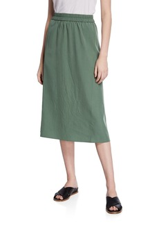 Eileen Fisher Plus Size Sandwashed Midi Skirt