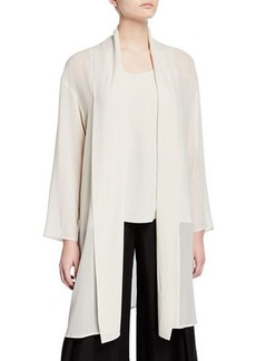 Eileen Fisher Plus Size Sheer Silk Georgette Kimono Jacket