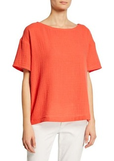 Eileen Fisher Plus Size Short-Sleeve Cotton Gauze Top