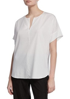 Eileen Fisher Plus Size Slit-Neck Short-Sleeve Boxy Sandwash Tunic