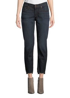 Eileen Fisher Plus Size Soft Denim Raw-Edge Ankle Jeans