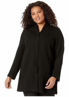 Eileen Fisher Plus Size Stretch Chevron High Collar Long Jacket