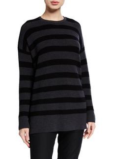 Eileen Fisher Plus Size Striped Crewneck Merino Wool Tunic Sweater