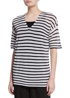 Eileen Fisher Plus Size Striped V-Neck Elbow-Sleeve Organic Linen Crepe Sweater