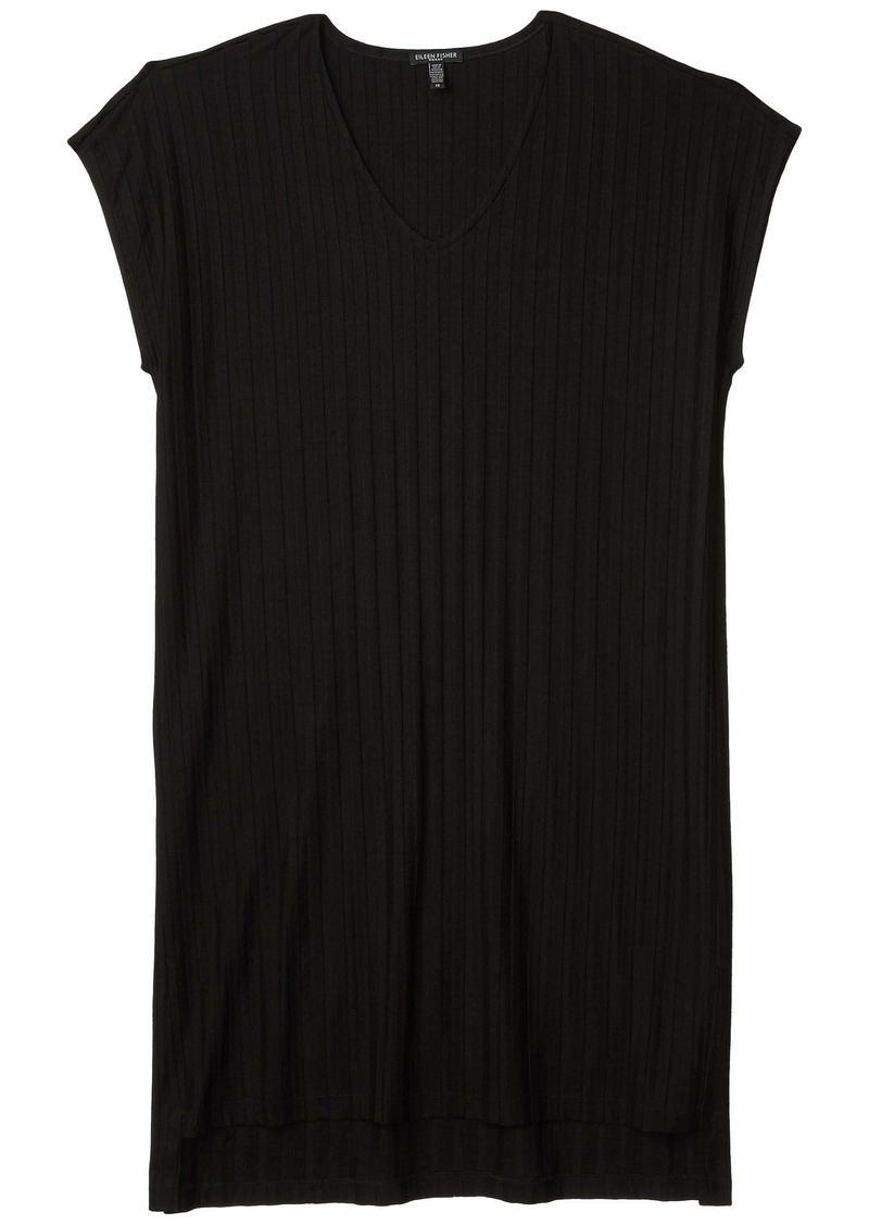 Eileen Fisher Plus Size V-Neck High-Low Dress