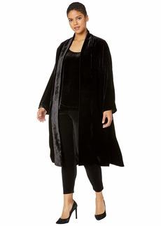 Eileen Fisher Plus Size Velvet Shawl Collar Long Jacket