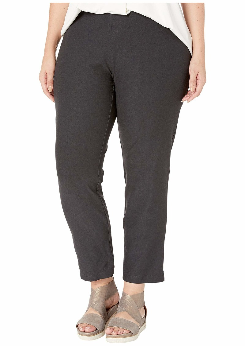 Eileen Fisher Plus Size Washable Stretch Crepe Slim Ankle Pants w/ Side Zipper