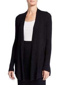 Eileen Fisher Plus Size Washable Wool Long Rib Cardigan