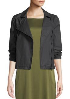 Eileen Fisher Plus Size Waxed Organic Cotton Moto Jacket