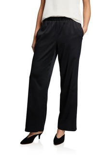 Eileen Fisher Polyester Satin Straight-Leg Pull-On Pants