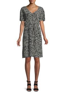 Eileen Fisher Printed Silk Drawstring-Waist Dress