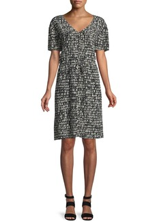 Eileen Fisher Printed Silk Drawstring-Waist Dress