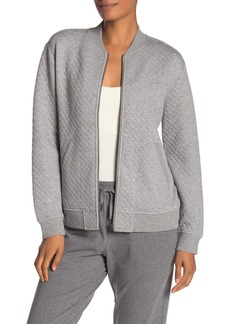 Eileen Fisher Quilted Knit Organic Cotton Blend Bomber Jacket