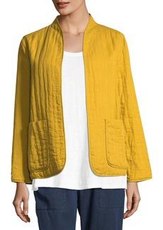 Eileen Fisher Quilted Linen Slub High-Collar Jacket